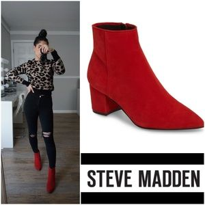Sexy Chic Steve Madden Pointy Toe Red Suede Bootie